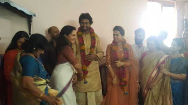 Manju Warrier with Naveen and Bhavana at the engagement